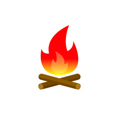 Campfire color icon, vector flame symbol isolated on white