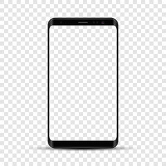 Realistic smartphone isolated illustration. Mobile phone mockup with blank screen. Vector