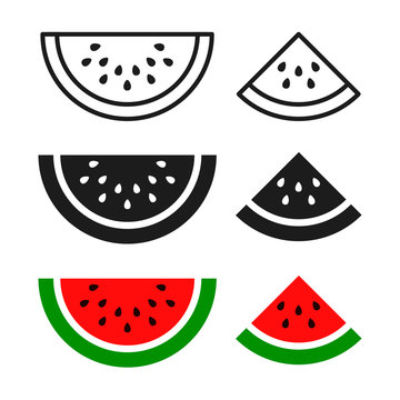 Watermelon sliced ripe icon, vector isolated melon symbol set isolated on white background