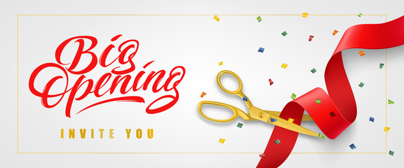 Big opening, invite you festive banner design in frame with confetti and gold scissors cutting red ribbon on white background. Lettering can be used for invitations, signs, announcements. Papier Peint
