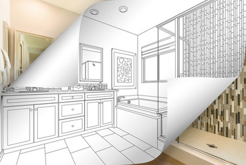 Master Bathroom Drawing Page Corners Flipping with Photo Behind