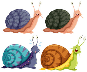 Isolated Four Colour Happy Snails