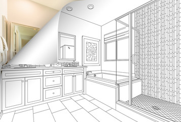 Master Bathroom Drawing Page Corner Flipping with Photo Behind