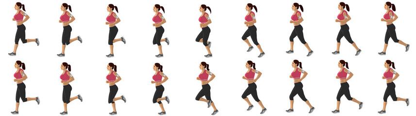 Girl Run Cycle Animation Sprite Sheet, jogging, Running, Silhouette