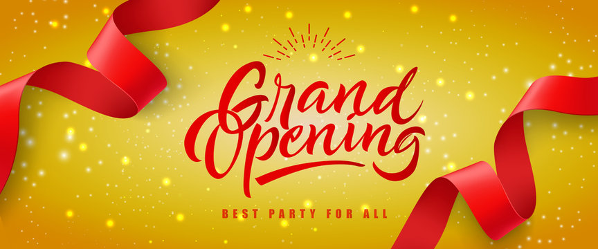 Grand opening, best party for all festive banner design with red streamer on yellow glittering background. Lettering can be used for invitations, signs, announcements.