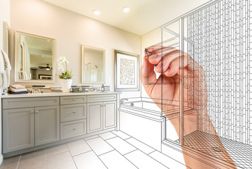 Hand Drawing Custom Master Bathroom with Photo Gradation