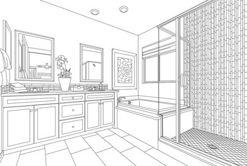 Detailed Drawing of A Custom Master Bathroom on White