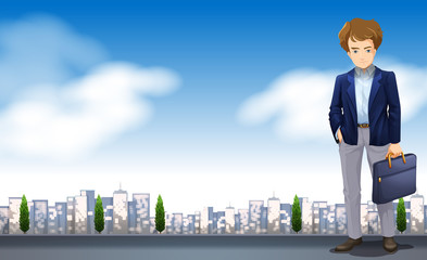 A Businessman in a scence with buildings