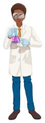 Scientist in white coat holding beaker