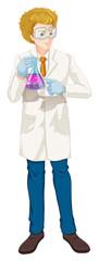 Scientist holding beaker on white background
