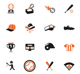 baseball color icon set