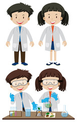 Scientists wearing white coats
