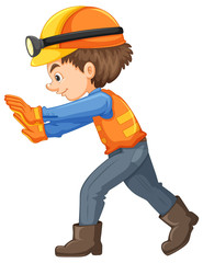 A Construction Worker on White Background