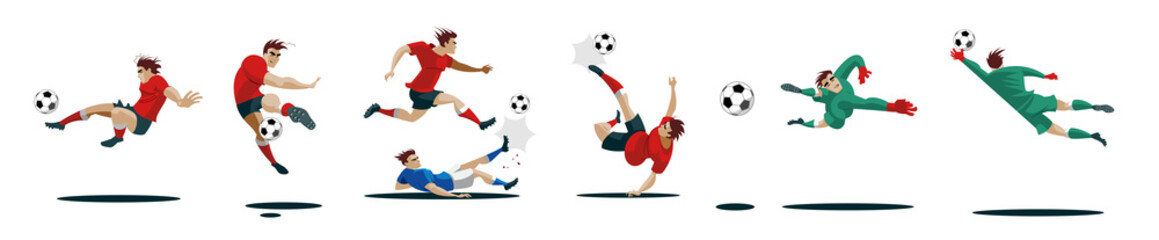 Soccer Players Kicking Ball and goalkeepers. Set Collection of different poses.