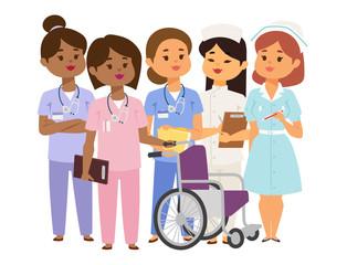Doctor nurse character vector medical woman staff flat design hospital team people doctorate illustration.
