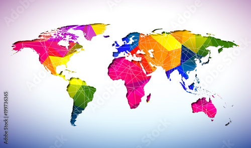 World Map Design With Abstract Geometric Color Background On
