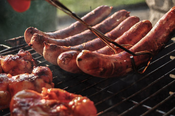 Original German Sausages on Grill