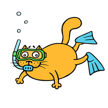 Cat aqualunger immersed in depth. Vector illustration