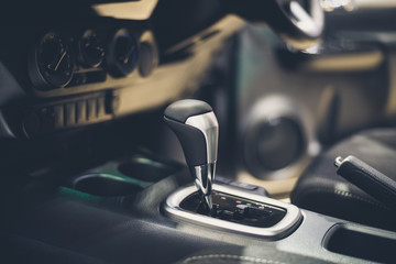 Automatic gear stick inside modern car  for background