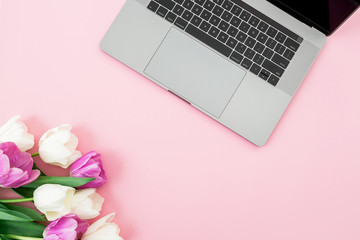 Laptop and tulip flowers on pink background. Flat lay. Top view. Computer with tulips.