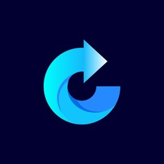 blue logo design for icon or company