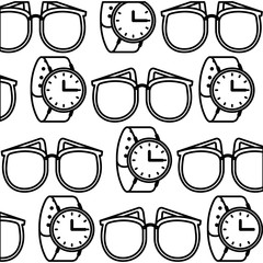 watch and sunglasses fashion accessories pattern vector illustration design