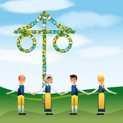 midsummer swedish celebration people holding hands in the field vector illustration