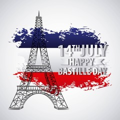 bastille day french celebration grunge map flag tower eiffel monument vector illustration