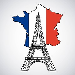 flag on map of france with tower eiffel european symbol vector illustration