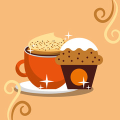 cappuccino coffee foam and cupcake chips cream vector illustration