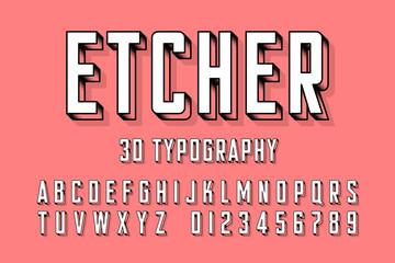 Modern engraved font vector illustration