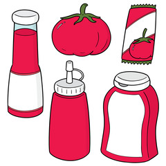 vector set of tomato and tomato ketchup