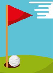 golf ball hole and flag field sport vector illustration