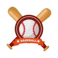 baseball ball bats crossed game sport emblem vector illustration
