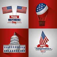 american independence day collage white house hot air balloon flag vector illustration