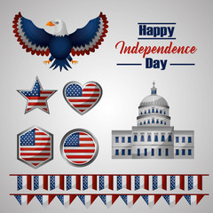 american independence day white house eagle heart star of usa flag vector illustration
