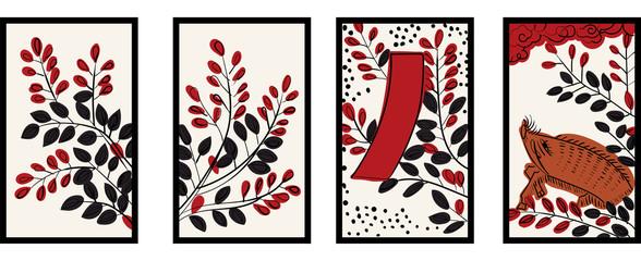 花札のイラスト 7月萩 萩に猪 日本のカードゲーム  ベクターデータ  手描き・フリーハンド