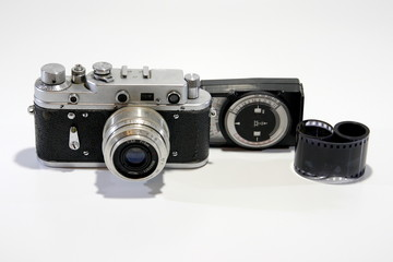Old camera, film and black and white photography.