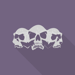 Three skull heads, silhouette of gray color. Square light purple icon in a flat style,