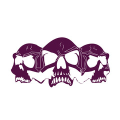 Three skull heads, silhouette dark blue (ink) color, on white background,