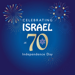 Israel 70 Independence Day, Anniversary Festival flyer, Yom Haatzmaut logo 2018 fireworks Festival banner, Jewish Holiday Jerusalem vector template poster brochure design.