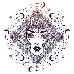 Beautiful divine night goddess girl with ornate halo