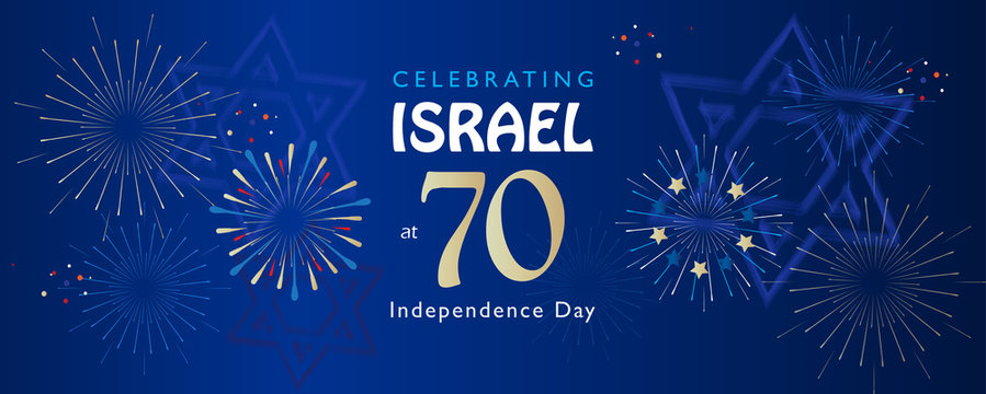 Israel 70 Independence Day, Anniversary Festival flyer, Yom Haatzmaut logo 2018 fireworks Festival banner, Jewish Holiday Jerusalem vector template poster brochure design.