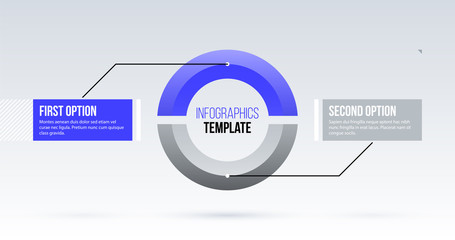 Horizontal pie infographics template with two segments in clean business style on white background