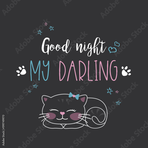 Funny Cute Cat And Phrase Good Night My Darling Stock Photo And