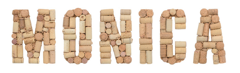 Grape variety Monica made of wine corks Isolated on white background Wall mural