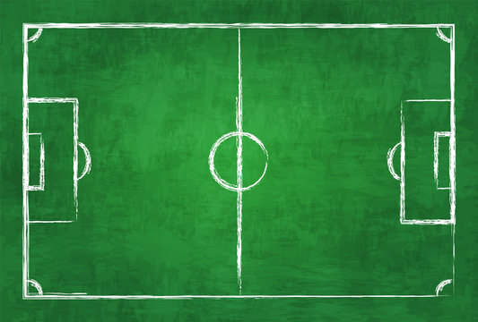 Realistic illustration football or soccer field on chalkboard texture background . Image for international world championship tournament 2018 concept