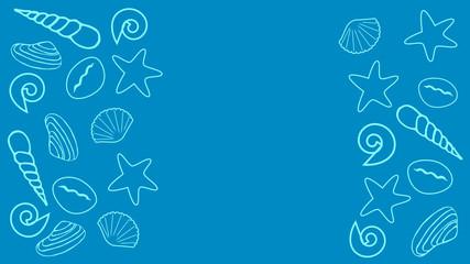 Sea blue background with seashells, starfish, slippers.