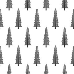 Forest seamless pattern with various type of the trees.