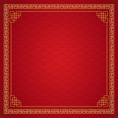 Chinese frame background. Red and gold color. Vector illustration EPS10
